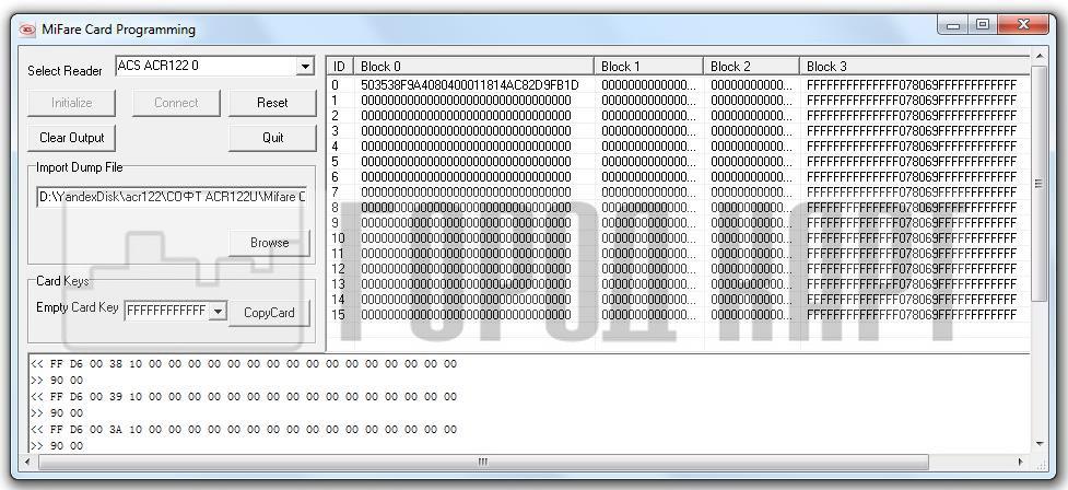 Схема блоков памяти Mifare 1k